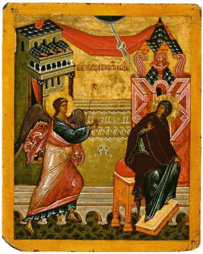 БлаговещениеНовгородский музейКонец XV — начало XVI вв.