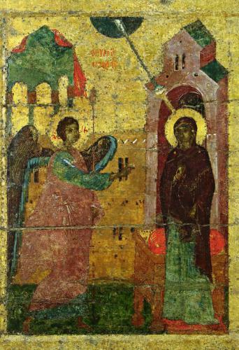 БлаговещениеДеталь иконыНовгородский музейОк. 1341 г.