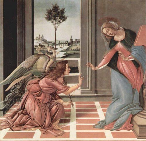 «Благовещение». Сандро Боттичелли. 1489—1490. Уффици, Флоренция.
