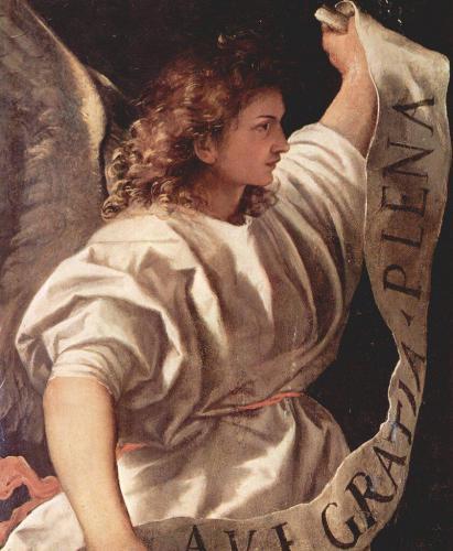 Архангел Гавриил, «Алтарь Альбероди», Тициан. Фрагмент. В руках архангела свиток с произнесенными им словами: «Радуйся, Мария, благодати полная».